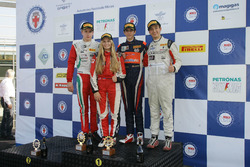 Rookie Podium Race 2: second place Juri Vips, Prema Powerteam; race winner Sebastian Wahbeh Fernandez, Kfzteile24 Mucke Motorsport; third place Ian Rodriguez Wright, DRZ Benelli