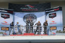 Podium GS Class: race winners #15 Multimatic Motorsports Ford Shelby GT350R-C: Scott Maxwell, Billy Johnson, second place #12 Bodymotion Racing Porsche Cayman GT4: Cameron Cassels, Trent Hindman, third place #76 Compass360 Racing Ford Shelby GT350R-C: Paul Holton, Pierre Kleinubing