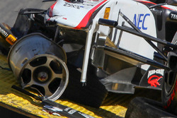 The car of Sergio Perez, Sauber F1 Team after his crash