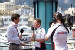 Toto Wolff, Mercedes AMG F1 Shareholder and Executive Director speaks with members of the media