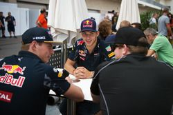 (L to R): Max Verstappen, Red Bull Racing with Pierre Gasly, Red Bull Racing Third Driver and Conor