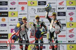 Podium race 1 SuperSports 600cc: winner Tomoyoshi Koyama, second place Zaqhwan Zaidi, third place Yuki Takahashi