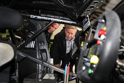 Colin Barnett, West Australian Premier takes a look at the car of Mark Winterbottom, Prodrive Racing