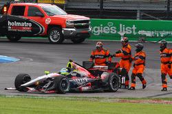 Sébastien Bourdais, KV Racing Technology Chevrolet, nach Crash