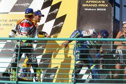 Podium: ganador. Sete Gibernau, Telefónica Movistar Honda, segundo, Valentino Rossi, Repsol Honda Te