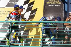 Podium: race winner Sete Gibernau, Telefónica Movistar Honda, second place Valentino Rossi, Repsol Honda Team and third place Max Biaggi, Pramac Pons