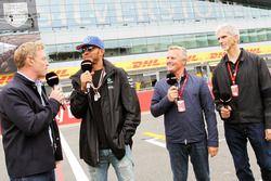 (L to R): Simon Lazenby, Sky Sports F1 TV Presenter; Lewis Hamilton, Mercedes AMG F1; Johnny Herbert