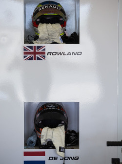 Helmet of Oliver Rowland, MP Motorsport and Daniel De Jong, MP Motorsport