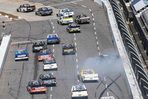 John Hunter Nemechek, NEMCO Motorsports, Chevrolet Silverado, spins on the backstretch