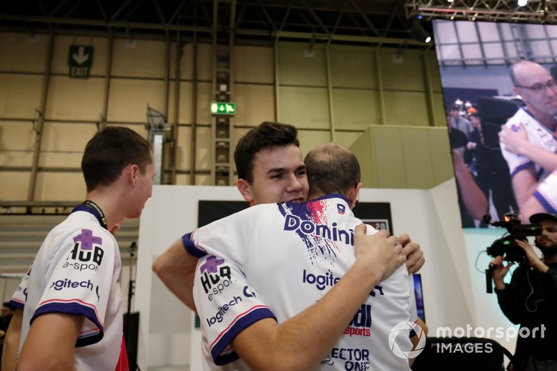 The winner of the Rallycross eSports final is congratulated