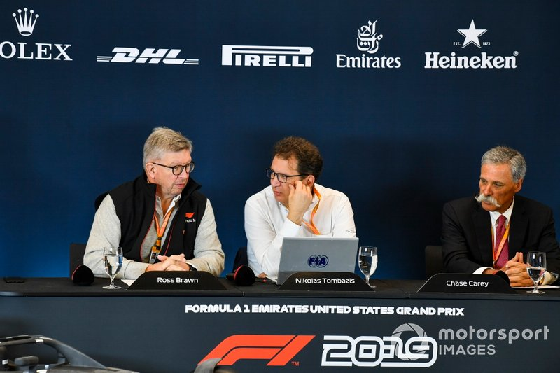 Ross Brawn, Managing Director of Motorsports, FOM, Chase Carey, Chairman, Formula 1 and Nikolaz Tombazi unveil the 2021 Formula 1 regulations in a press conference