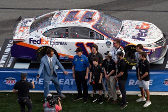 Denny Hamlin, Joe Gibbs Racing, Toyota Camry FedEx Express car is presented back to Coach Joe Gibbs and the Gibbs Family