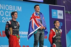 Race winner Mitch Evans, Jaguar Racing celebrates on the podium with Antonio Felix da Costa, DS Techeetah, 2nd position, Sébastien Buemi, Nissan e.Dams, 3rd position