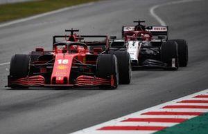 Charles Leclerc, Ferrari SF1000, leads Kimi Raikkonen, Alfa Romeo Racing C39