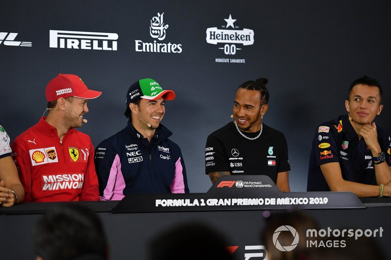 Sebastian Vettel, Ferrari, Sergio Perez, Racing Point, Lewis Hamilton, Mercedes AMG F1 e Alex Albon, Red Bull Racing, in conferenza stampa