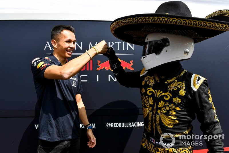 Mario Achi, Mexican GP Promoter with Alex Albon, Red Bull Racing