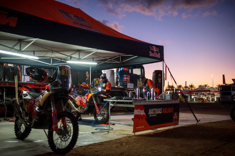 Red Bull KTM Factory Team mechanic works after stage