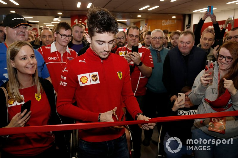 Charles Leclerc, Ferrari prepares to cut the ribbon and open Autosport International 2020