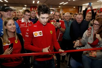 Charles Leclerc, Ferrari prepares to cut the ribbon and open Autosport International 2020