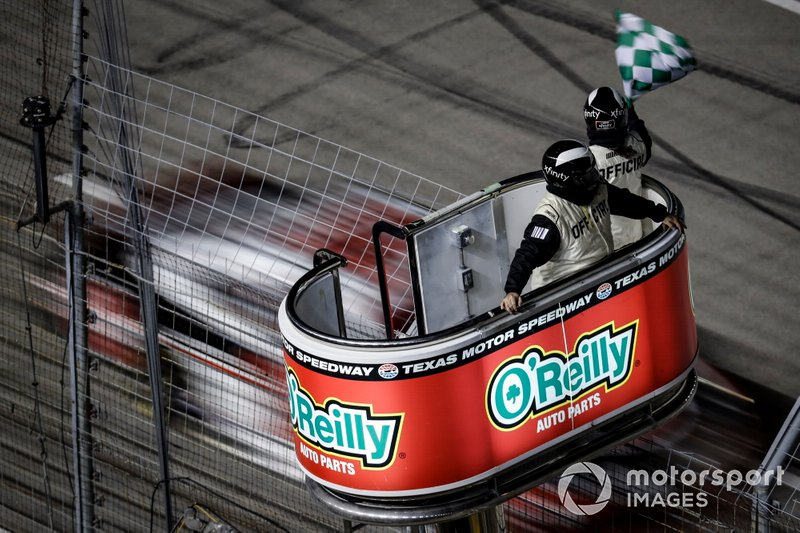 Christopher Bell, Joe Gibbs Racing, Toyota Supra Rheem wins the second stage, checkered green flag