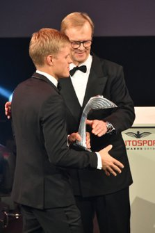 Ari Vatanen on stage to present the Rally Driver of the Year Award to Ott Tanak