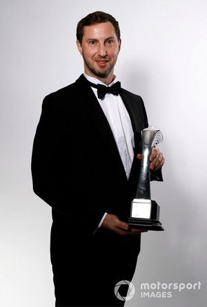 TGR Technical Director Tom Fowler with the Rally Car of the Year award won by the Toyota Yaris WRC