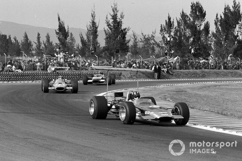 Graham Hill, Lotus, Jackie Stewart, Matra, Jo Siffert, Lotus, al GP del Messico del 1968