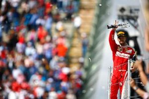 Sebastian Vettel, Ferrari, 3rd Position, with his trophy and Champagne