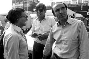 Bernie Ecclestone, Brabham Team Owner and FOCA President; Ken Tyrrell, Tyrrell Team Owner and Frank Williams, Williams Team Owner