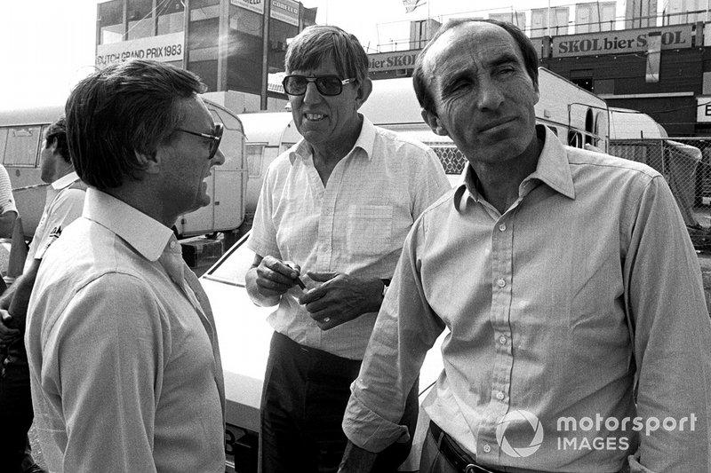 Bernie Ecclestone, propietario del equipo Brabham y presidente de FOCA; Ken Tyrrell, propietario del equipo Tyrrell y Frank Williams, propietario del equipo Williams