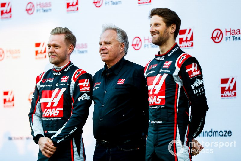 Romain Grosjean, Haas F1 Team, Gene Haas, Owner and Founder, Haas F1 Team and Kevin Magnussen, Haas F1 Team at the unveiling of the Haas VF-20