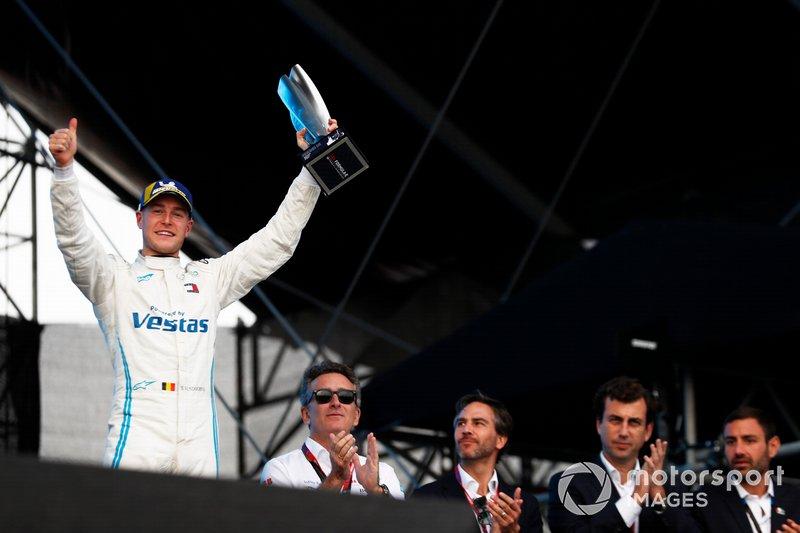 Stoffel Vandoorne, Mercedes Benz EQ, EQ Silver Arrow 01, celebrates on the podium