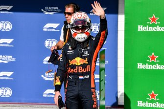 Max Verstappen, Red Bull Racing, celebrates after securing pole position