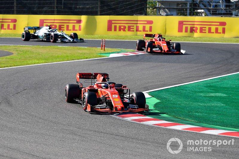 Sebastian Vettel, Ferrari SF90, Charles Leclerc, Ferrari SF90, Lewis Hamilton, Mercedes AMG F1 W10