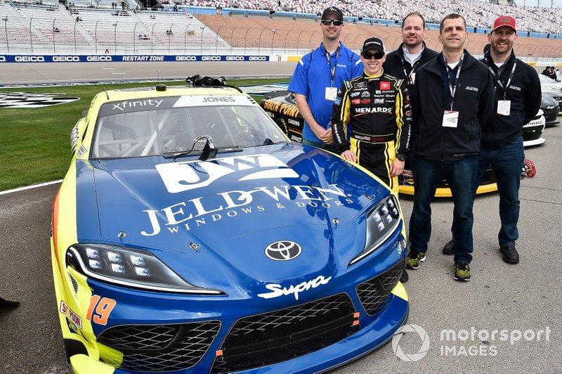 Brandon Jones, Joe Gibbs Racing, Toyota Supra Menards Jeld-Wen with guest.