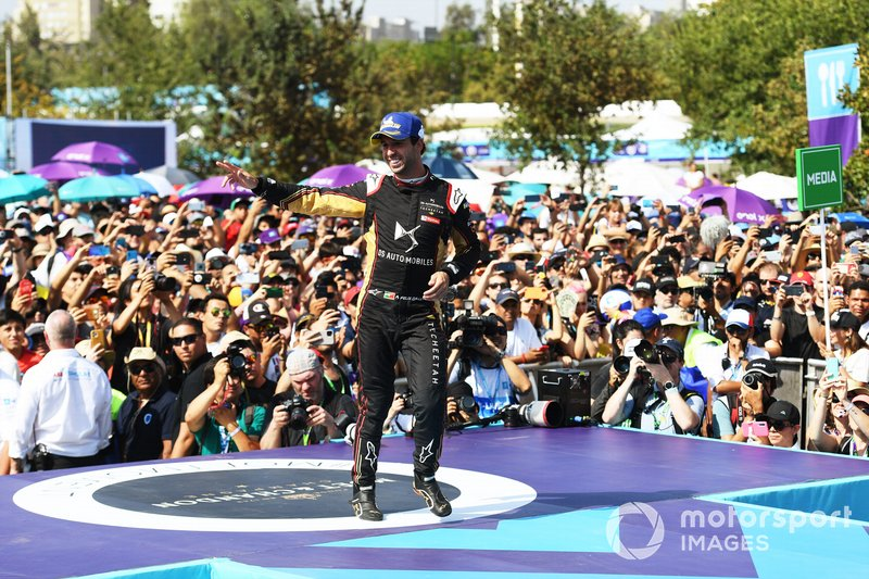 Antonio Felix da Costa, DS Techeetah, celebrates on the podium