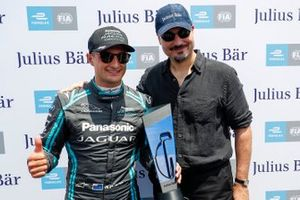 Mitch Evans, Panasonic Jaguar Racing, with the pole position award