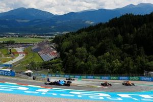 Nicholas Latifi, Williams FW43B, Sergio Perez, Red Bull Racing RB16B, and Lando Norris, McLaren MCL35M