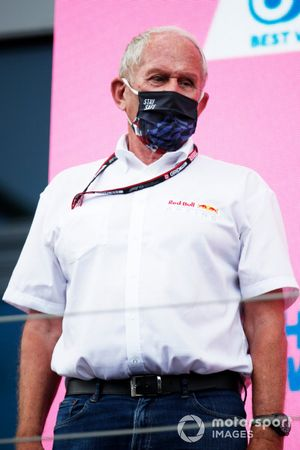 Helmut Marko, Consultant, Red Bull Racing, on the podium