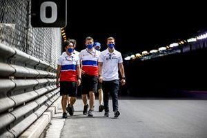 Mick Schumacher, Haas F1, walks the track with team mates