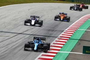 Fernando Alonso, Alpine A521, George Russell, Williams FW43B, and Daniel Ricciardo, McLaren MCL35M