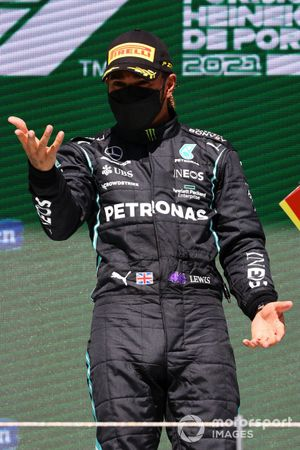 Lewis Hamilton, Mercedes, 1st position, on the podium