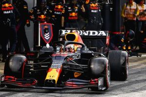 Max Verstappen, Red Bull Racing RB16B, leaves the pits