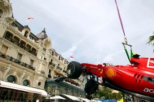 The car of Fernando Alonso, Ferrari F10 after the crash