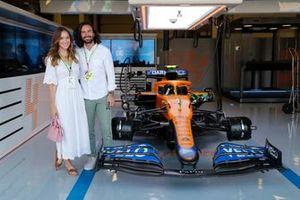 Fitness coach and TV presenter Joe Wicks visits the McLaren garage with his wife Rosie Jones