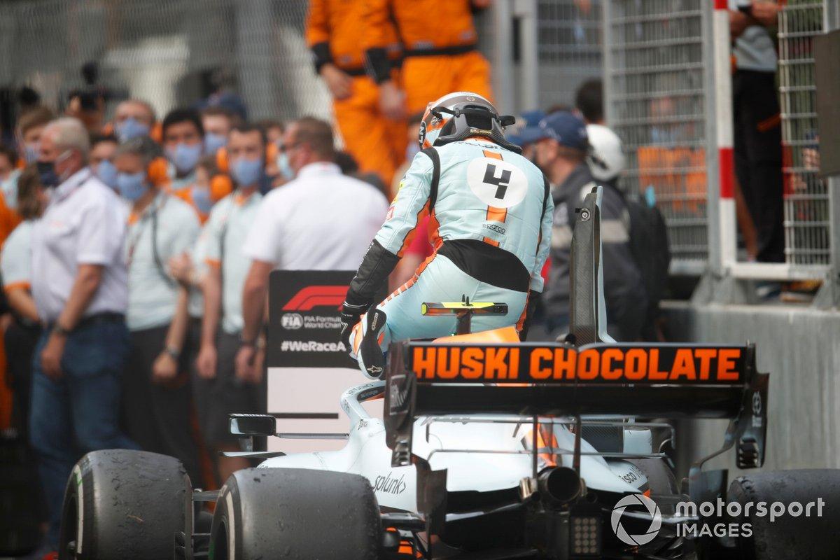Lando Norris, McLaren, tercer lugar en Parc Ferme