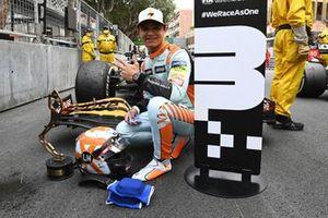 Lando Norris, McLaren, 3rd position, with his trophy