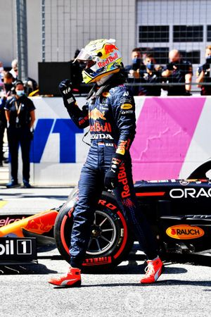Pole man Max Verstappen, Red Bull Racing, arrives in Parc Ferme