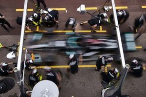 Lewis Hamilton, Mercedes W12, in the pits during Qualifying