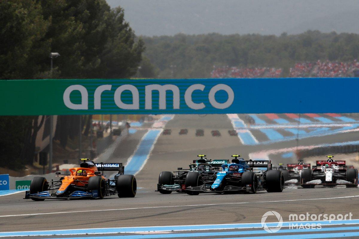 Lando Norris, McLaren MCL35M, Esteban Ocon, Alpine A521, Sebastian Vettel, Aston Martin AMR21, Antonio Giovinazzi, Alfa Romeo Racing C41